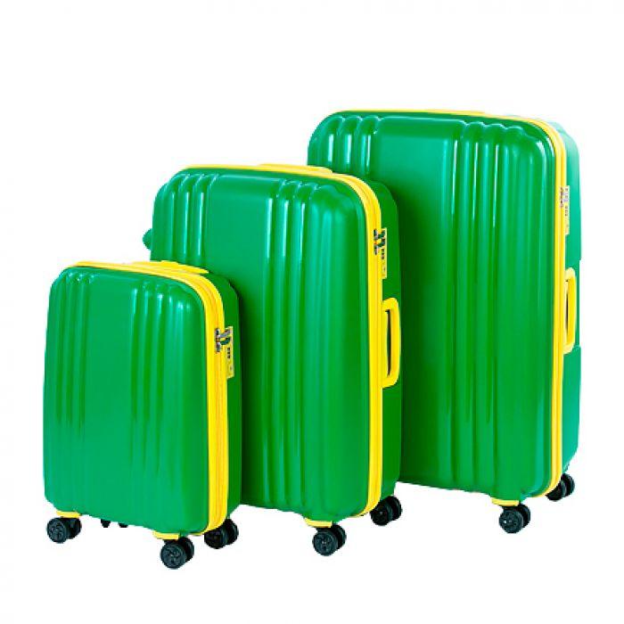Пластиковый чемодан на четырех колесах ярко-зелёный с жёлтой молнией