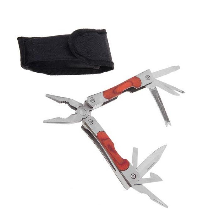 Складной нож многофункциональный 10в1, с деревянной вставкой на рукояти