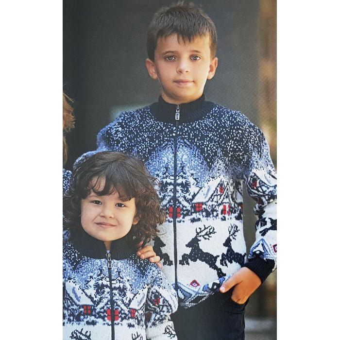 """Джемпер шерстяной """"Домики с оленями"""" 340-19 (детский и подростковый)"""