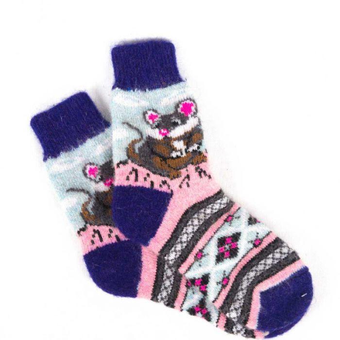Шерстяные носки в фиолетово-розовой расцветке