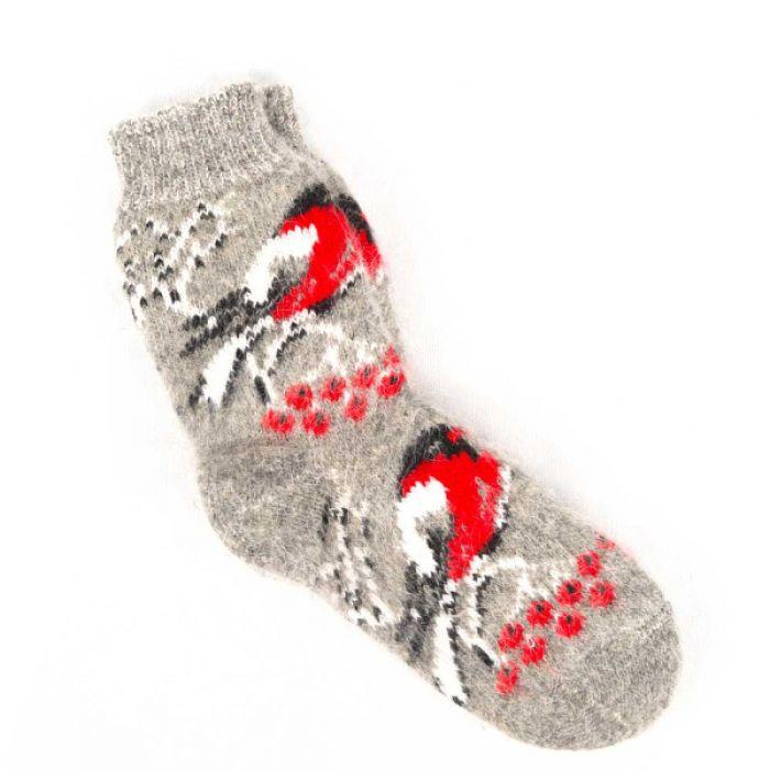 Шерстяные носки с оформлением в виде снегирей и веточки калины