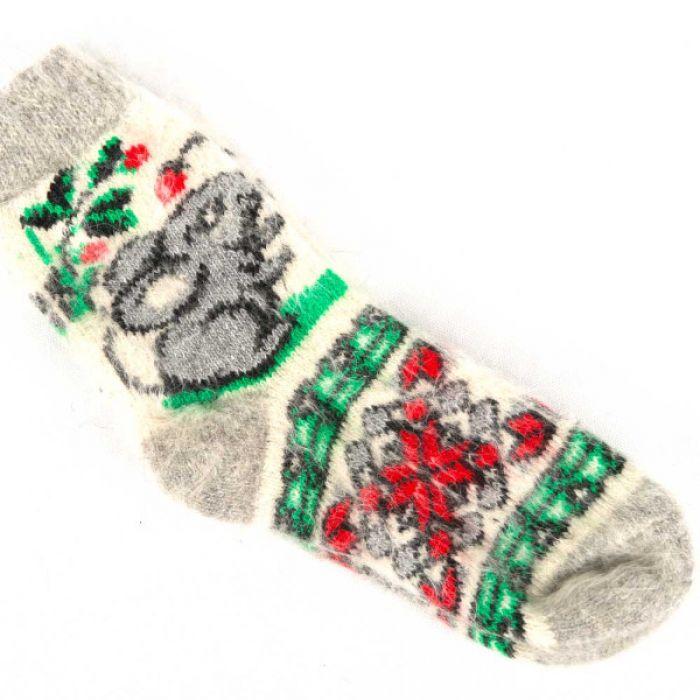 Прикольные новогодние шерстяные носки с мышками