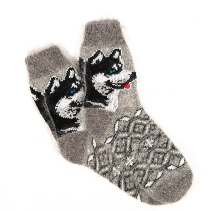Удобные вязанные зимние носки с пёсиком