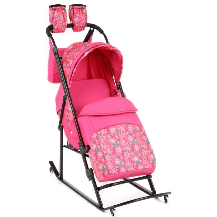Санки-коляска Kristy Luxe Plus Розовый