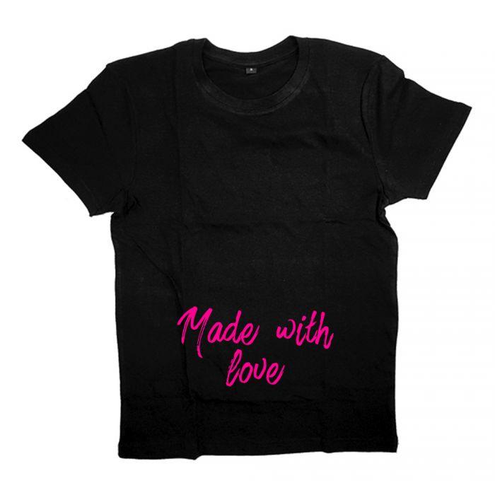 "Футболка для беременных с надписью ""Made with love"""