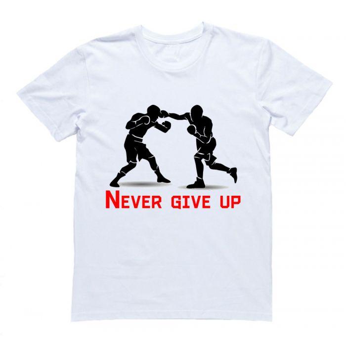 """Футболка для боксеров с принтом и надписью """"Never give up"""""""