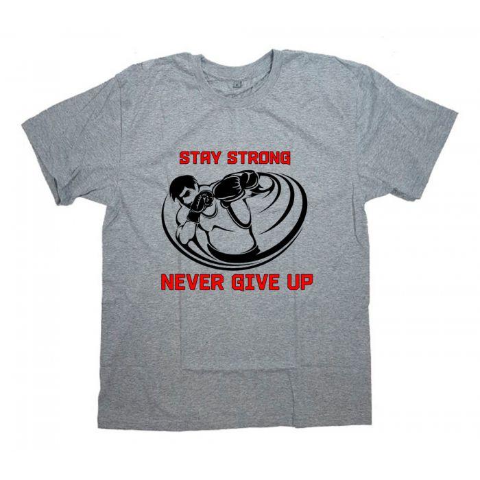 """Футболка для боксеров с принтом и надписью """"Stay strong. Never give up"""""""