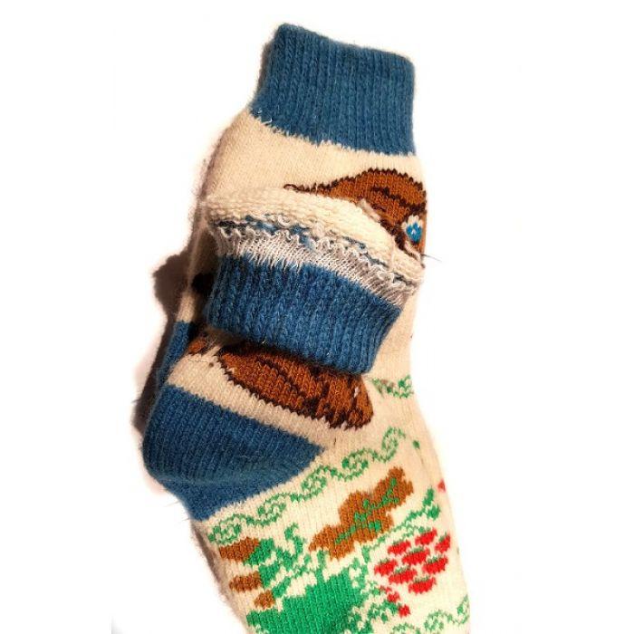 Шерстяные носки женские, разноцветные с собачкой