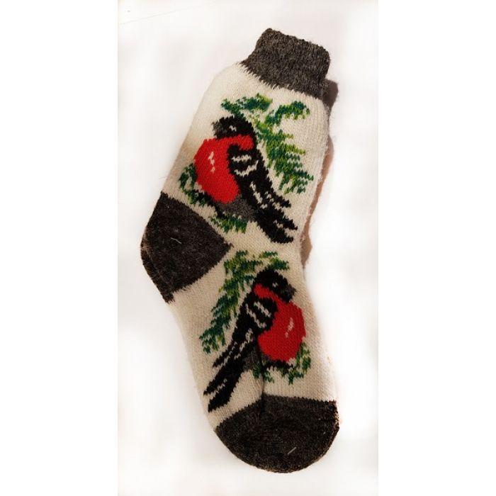 Шерстяные носки женские коричневые со снегирем
