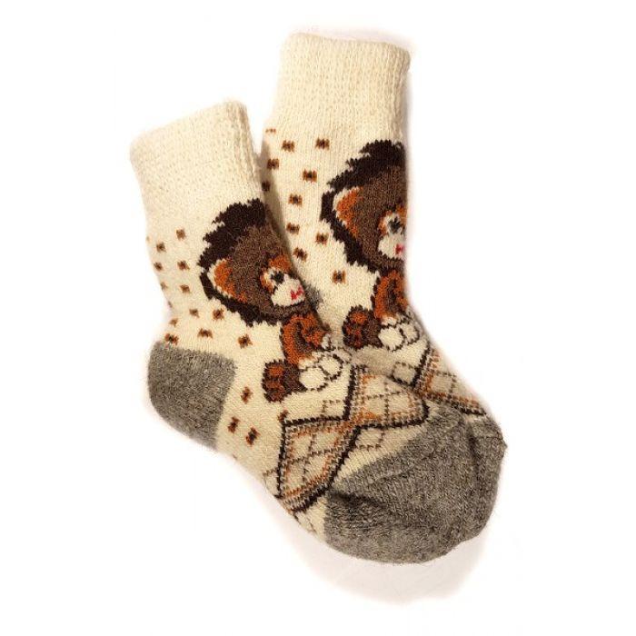 Шерстяные носки детские со львенком