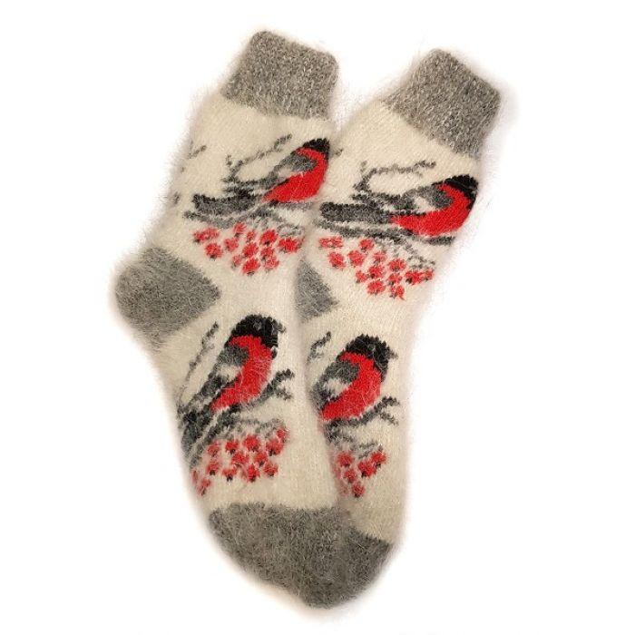 Носки из козьего пуха, подростковые со снегирями