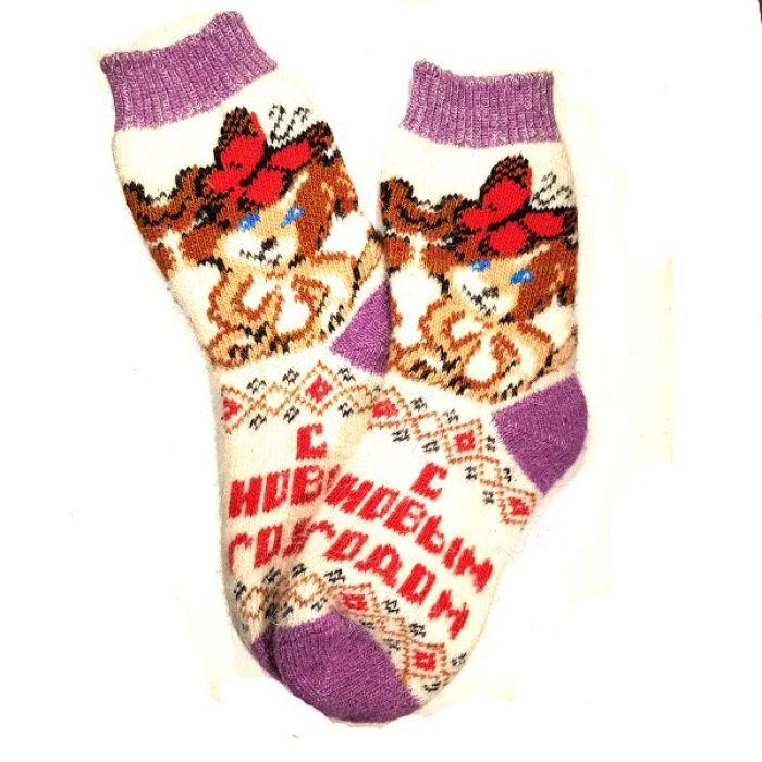 Носки шерстяные, женские, новогодние, размер 35-39