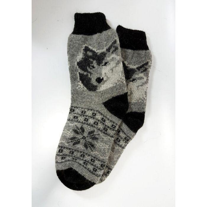 Шерстяные носки мужские с волком