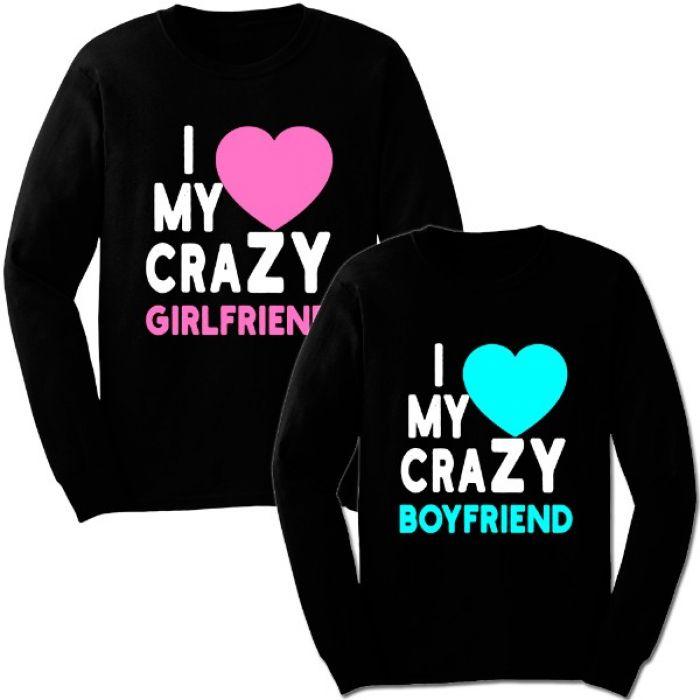 "Парные свитшоты с надписью ""I love my crazy girlfriend / boyfriend"""