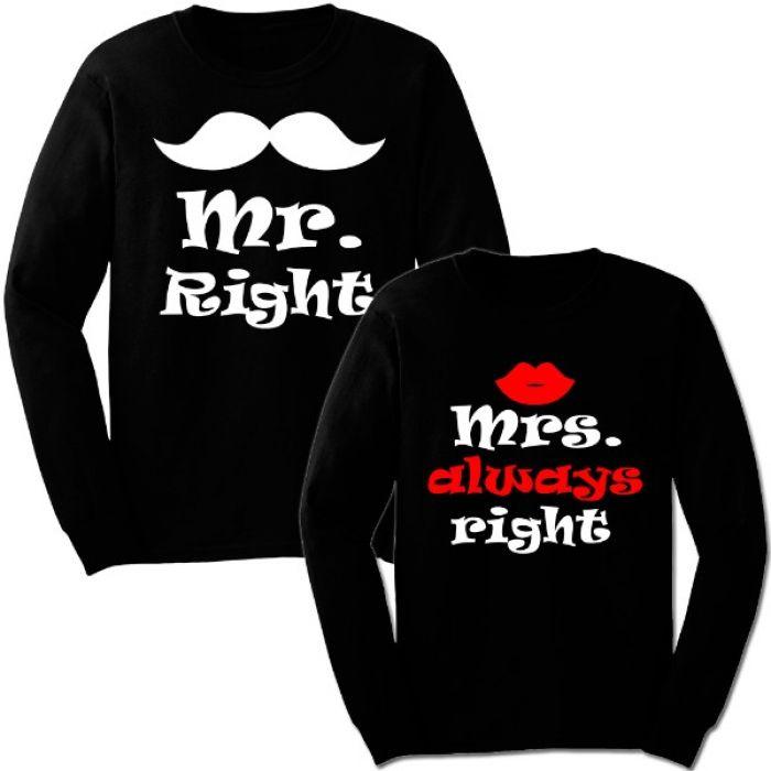 "Парные свитшоты с надписью ""Right&Always Right"""