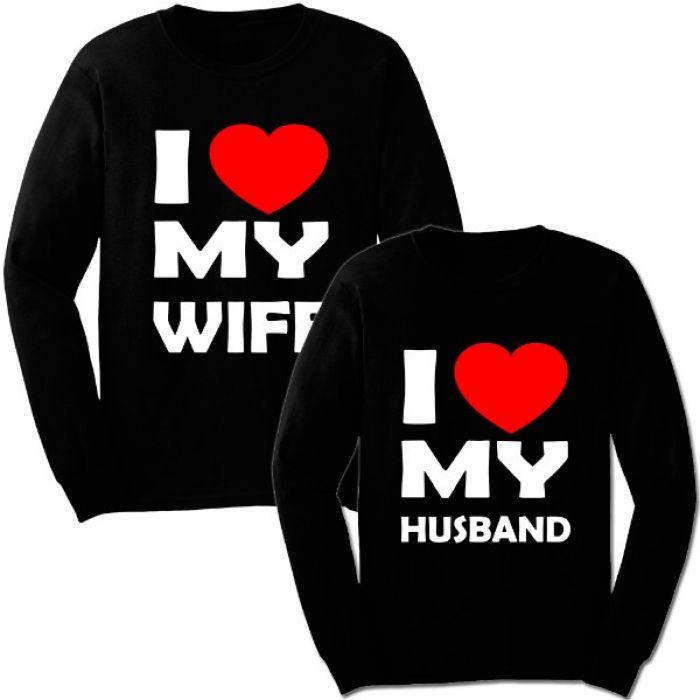 "Парные свитшоты с надписью ""I love my WIFE / HUSBAND"""