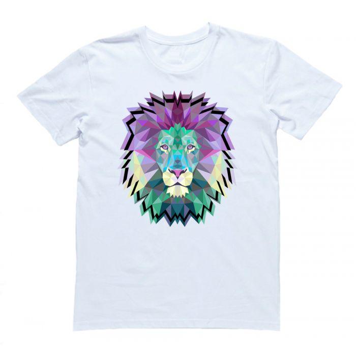 """Прикольная футболка с принтом """"Геометрический лев"""""""
