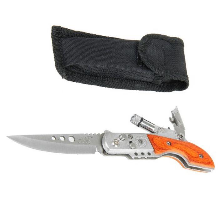 Складной нож автоматический, длина лезвия 7 см, с фиксатором, фонариком, в чехле, рукоять в форме приклада