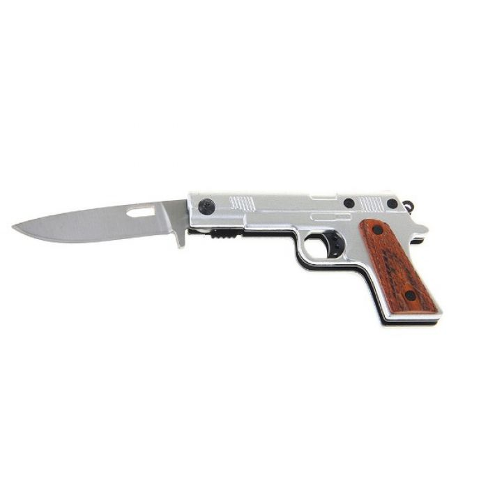 Складной нож, длина лезвия 12 см, с фиксатором, рукоять в виде пистолета