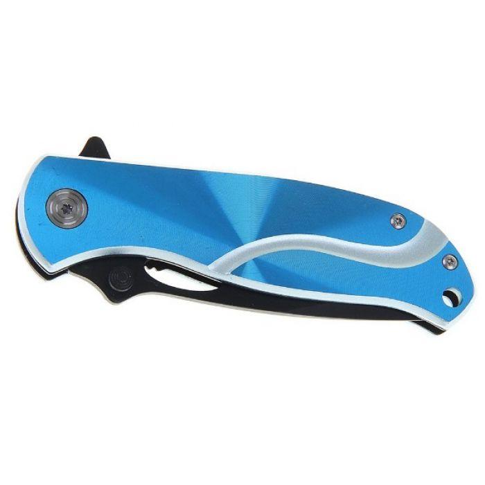 Складной нож, лезвие с зазубринами 16 см, с фиксатором, голографическая рукоять, микс