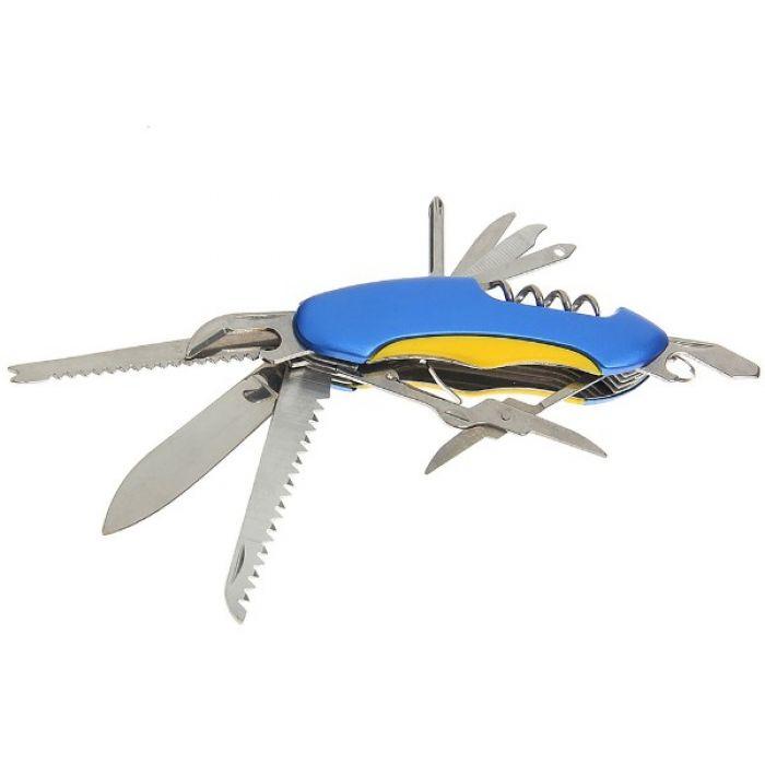 Складной нож многофункциональный 11в1, лезвие 6 см, рукоять с желтой вставкой, микс