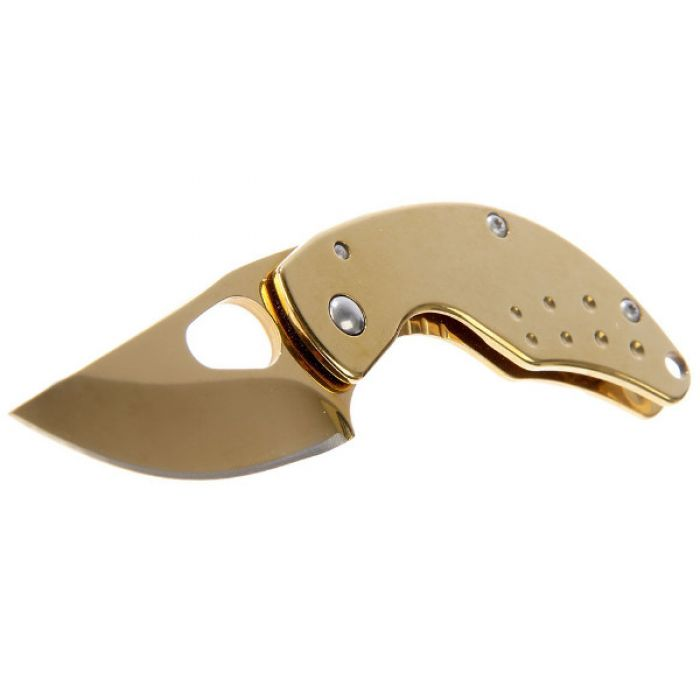 """Складной нож, лезвие """"drop-point"""" 6,5 см, с фиксатором, золотой"""