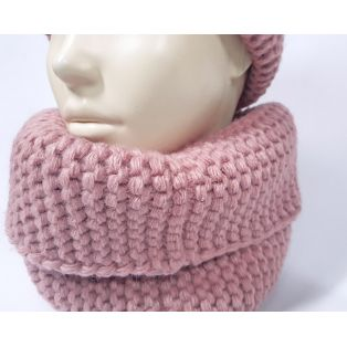Женский комплект шапка и шарф (розовый)