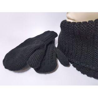 Женский комплект шапка, шарф и варежки (чёрный)