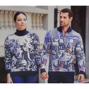 Мужской свитер с городским мотивом 230-421