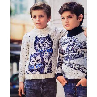 Детский свитер с совами 330-23