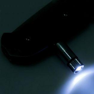 Складной нож автоматический, длина лезвия 6 см, с фиксатором, фонариком, в чехле