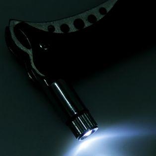 Складной нож, длина лезвия 7 см, с фонариком, рукоять-дерево