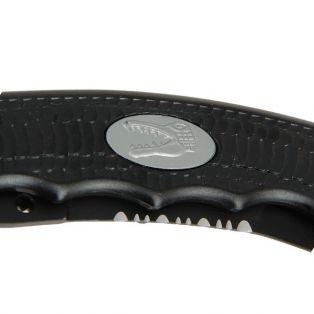 Складной нож, лезвие с зазубринами 8 см, рукоять под крокодила, черный
