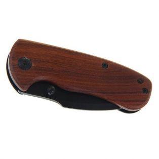 Складной нож с фиксатором неавтоматический, длина лезвия 11 см, рукоять-дерево