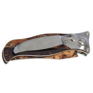 Складной нож, лезвие clip-point 7,5 см, рукоять птица хаки, с фиксатором и кнопкой