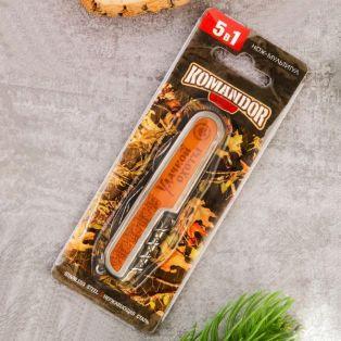 """Складной нож мультитул, лезвие 6 см, надпись """"Удачной охоты"""", 5 предметов"""