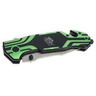 Складной нож, лезвие drop-point 9,5 см, рукоять с крюком зелёная