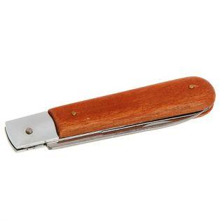 Складной нож электрика FIT, лезвие 5 см, для зачистки изоляции, ручка дерево