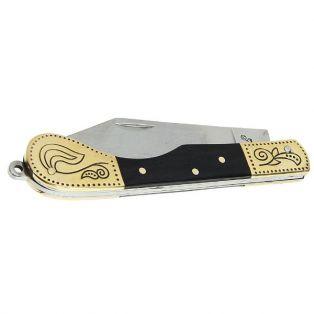 Складной нож, лезвие clip-point 9,6 см, рукоять золото с узорами и вставка темное дерево
