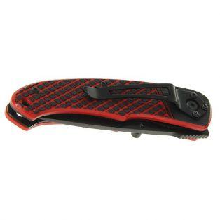 Складной нож, лезвие drop-point 7,5 см, рукоять диагональ черная с красным, волокно G10