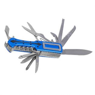 Складной нож универсальный 11в1, лезвие 6 см, синяя пластиковая рукоять со стрелой