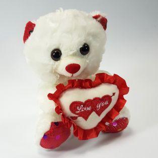 Белый плюшевый мишка I love you - 20 см