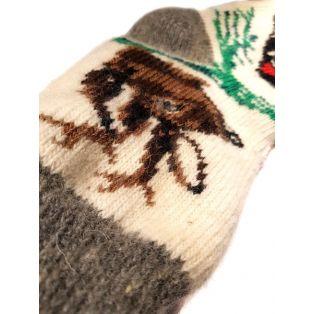 Шерстяные носки женские: олени, снегири