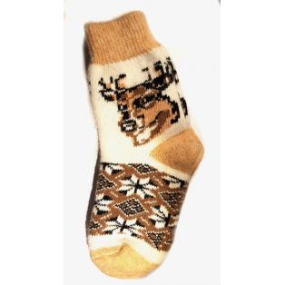 Шерстяные носки женские рыжие с оленем