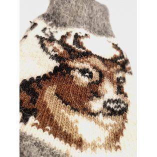 Шерстяные носки женские серые с оленем