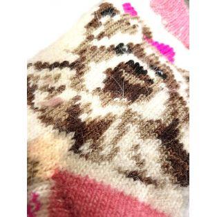 Шерстяные носки женские, розовые новогодние