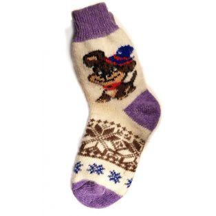 Шерстяные носки женские, фиолетовые с щенком