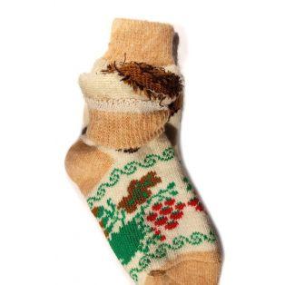 Шерстяные носки женские желтые с собачкой