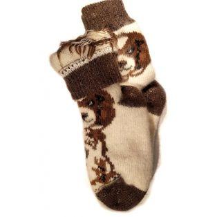 Шерстяные носки женские коричневые с собачкой