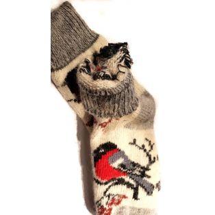 Шерстяные носки женские,  снегири